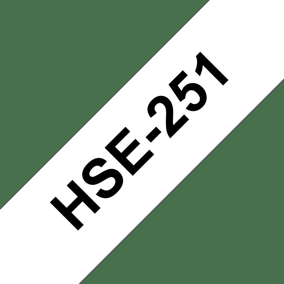 Alkuperäinen Brother HSe251 -kutistesukka –  musta teksti valkoisella pohjalla, 23,6 mm