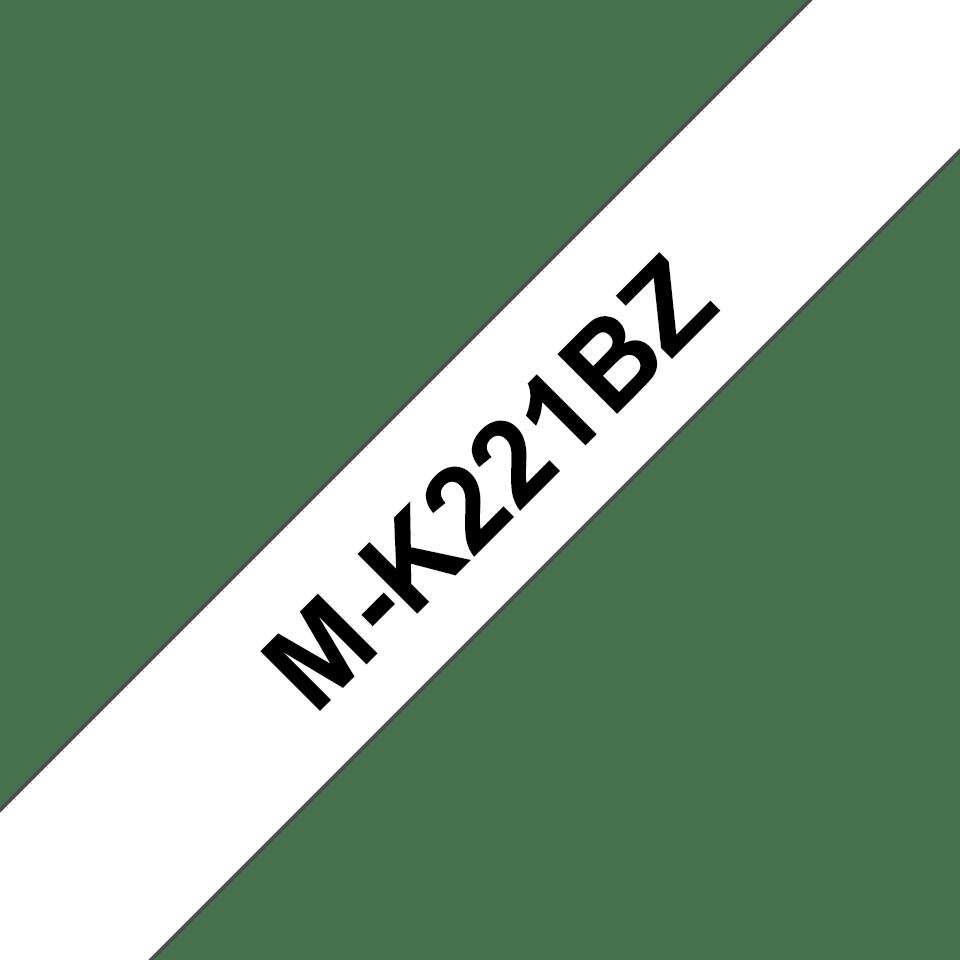 Alkuperäinen Brother M-K221BZ tarranauha, musta teksti valkoisella pohjalla, leveys 9 mm 0