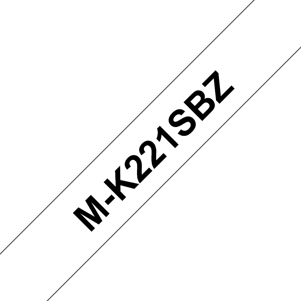 Genuine Brother M-K221SBZ Labelling Tape Cassette – Black on White, 9mm wide