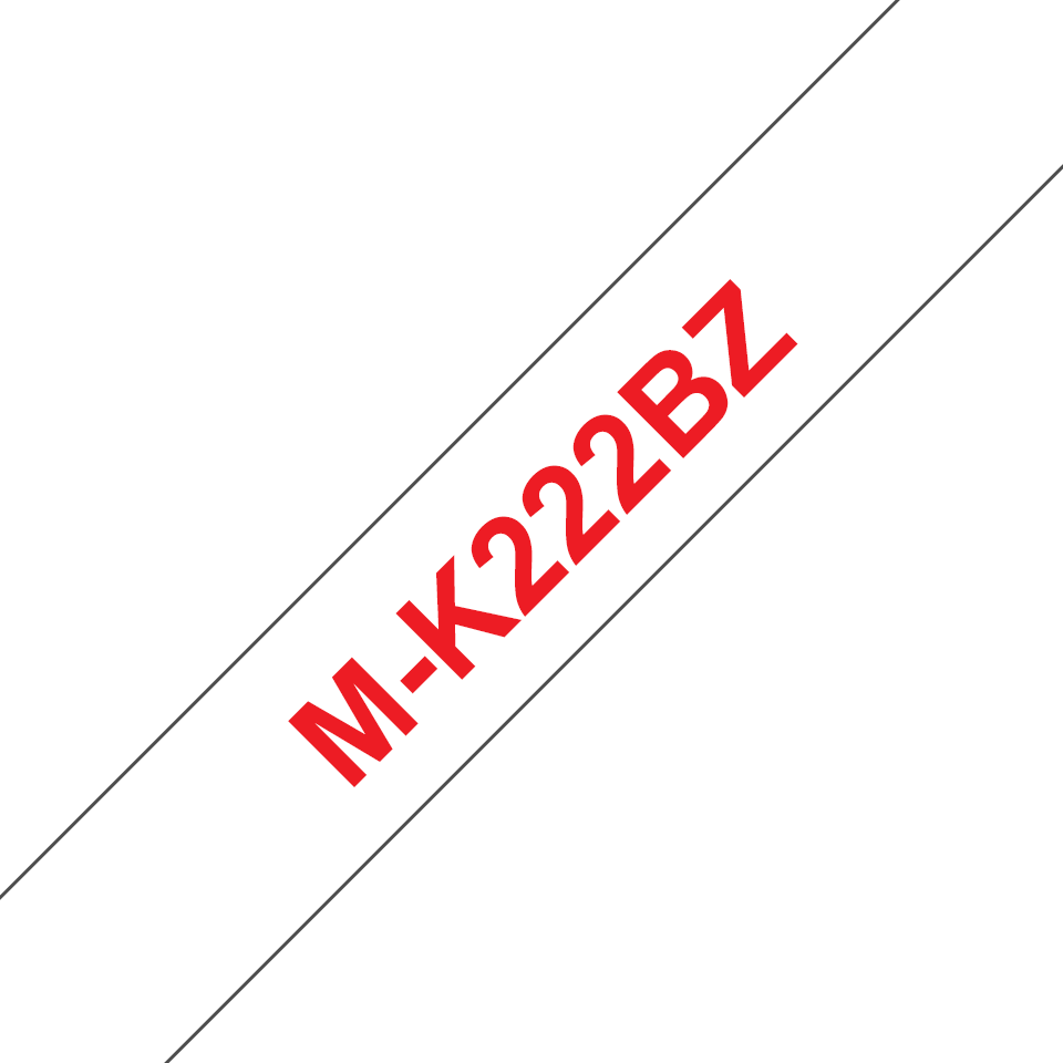 Genuine Brother M-K222BZ Labelling Tape Cassette – Red on White, 9mm wide