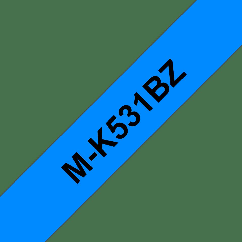 Genuine Brother M-K531BZ Labelling Tape Cassette – Black on Blue, 12mm wide