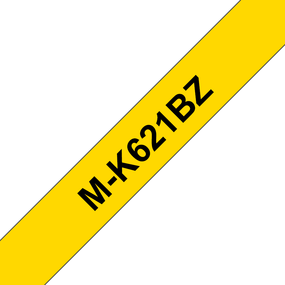Genuine Brother M-K621BZ Labelling Tape Cassette – Black on Yellow, 9mm wide