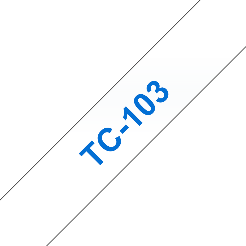 Genuine Brother TC-103 Labelling Tape Cassette – Blue on Clear, 12mm wide