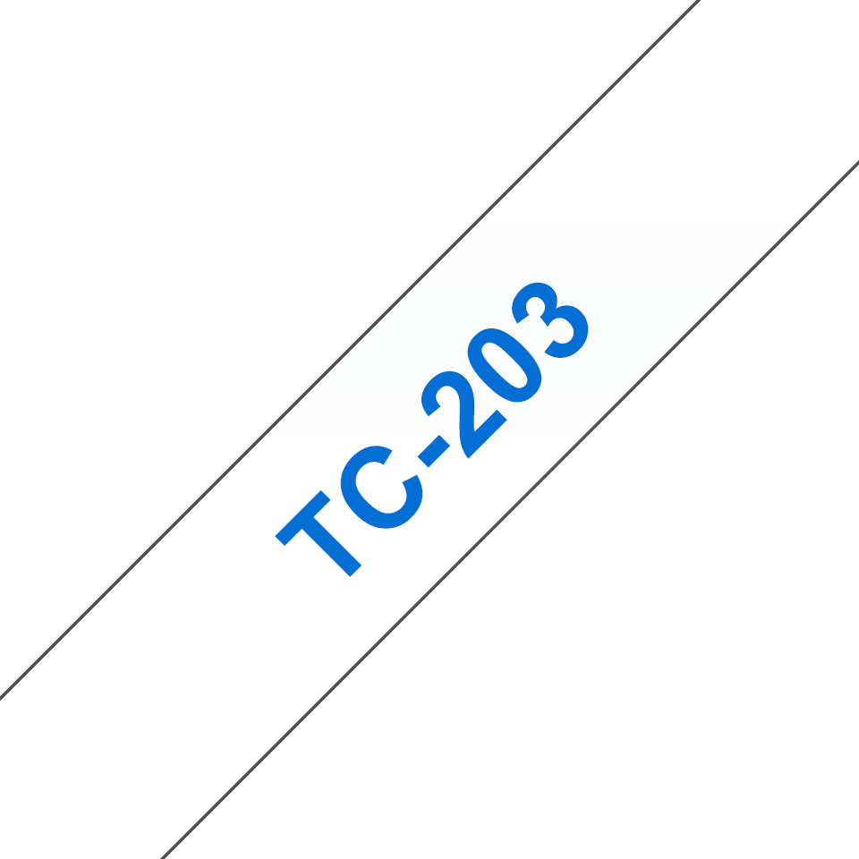 Genuine Brother TC-203 Labelling Tape Cassette – Blue on White, 12mm wide
