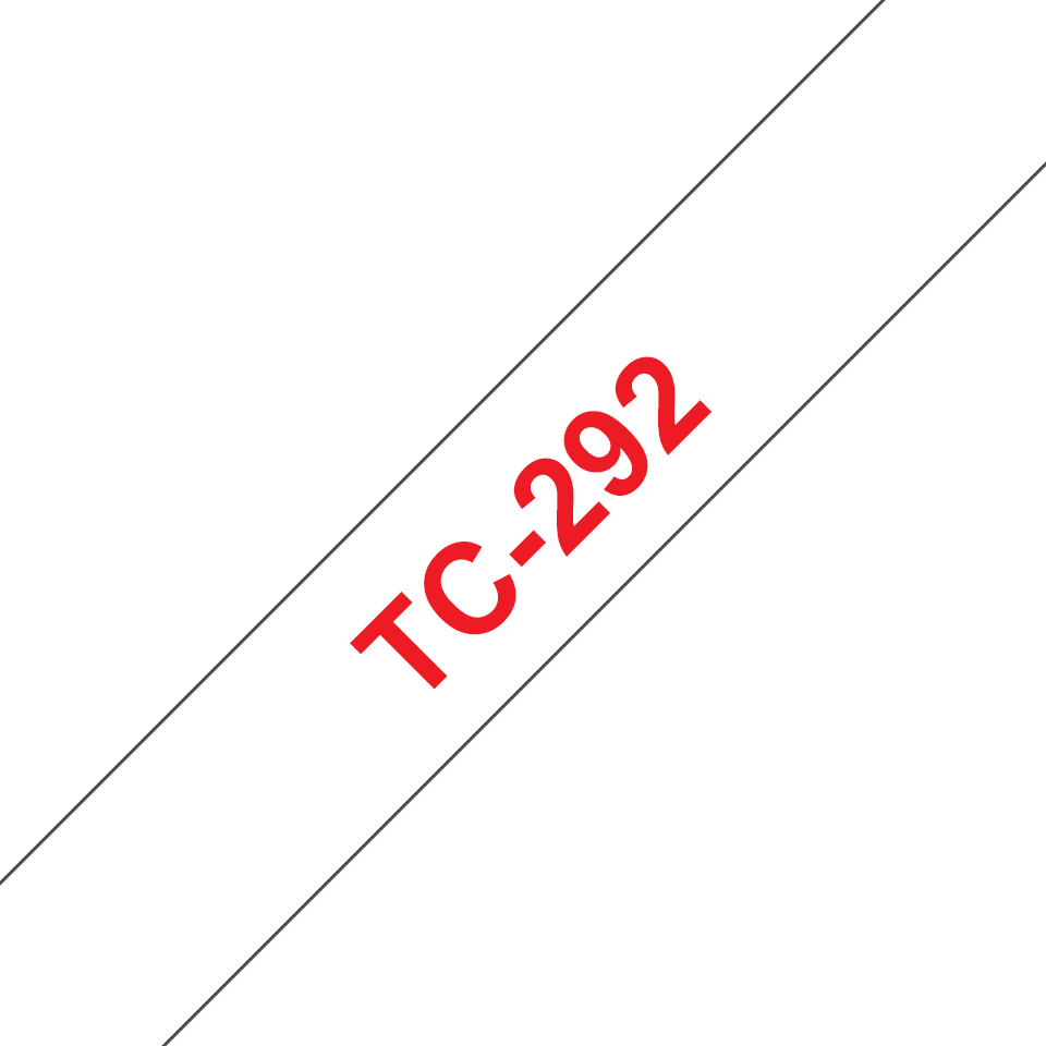 Genuine Brother TC-292 Labelling Tape Cassette – Red on White, 9mm wide