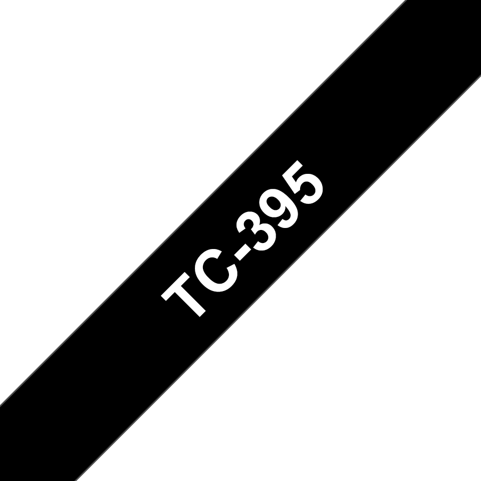 Genuine Brother TC-395 Labelling Tape Cassette – White on Black, 9mm wide
