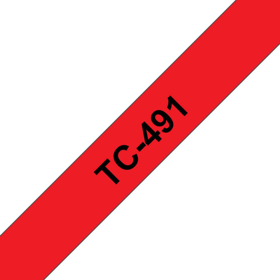 Genuine Brother TC-491 Labelling Tape Cassette – Black on Red, 9mm wide