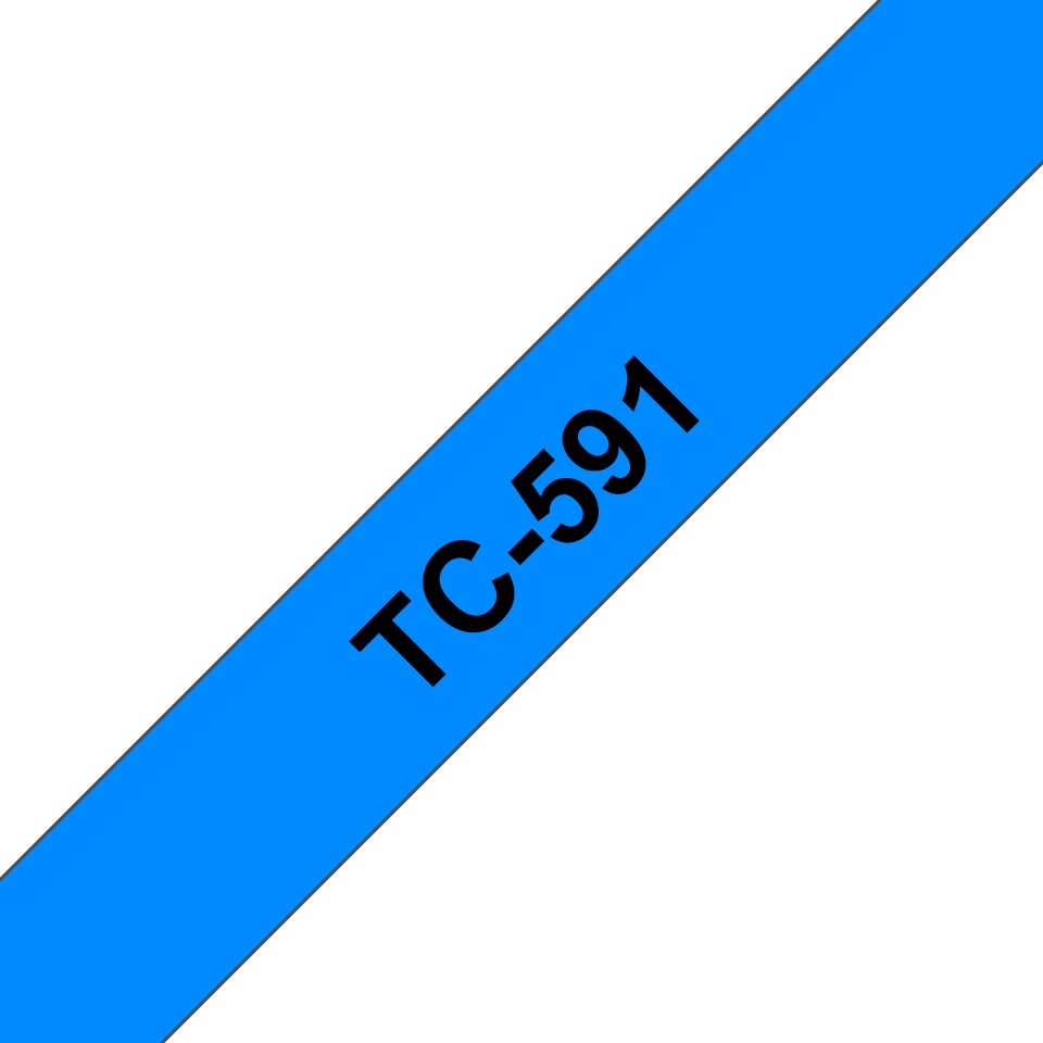 Genuine Brother TC-591 Labelling Tape Cassette – Black on Blue, 9mm wide
