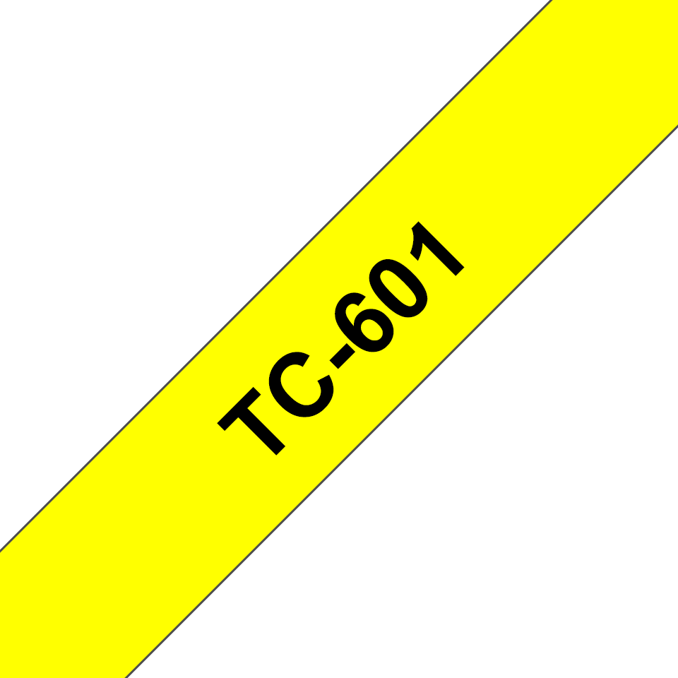 Genuine Brother TC-601 Labelling Tape Cassette – Black on Yellow, 12mm wide