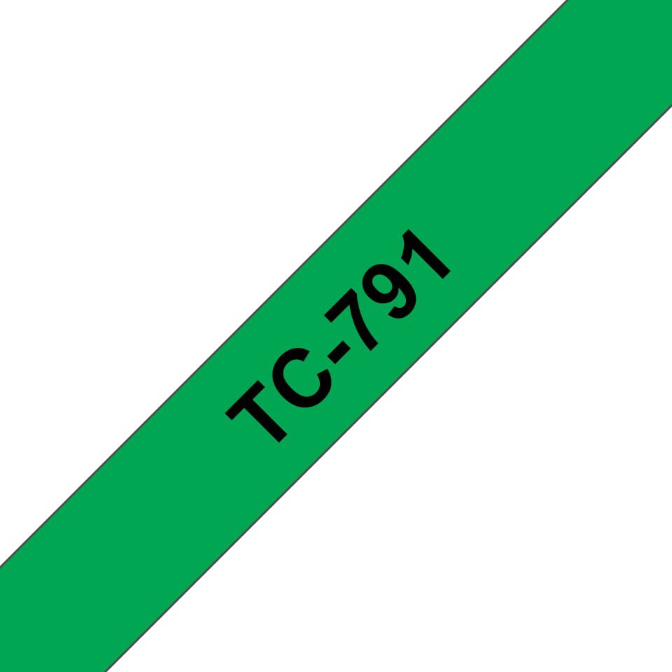 Genuine Brother TC-791 Labelling Tape Cassette – Black on Green, 9mm wide