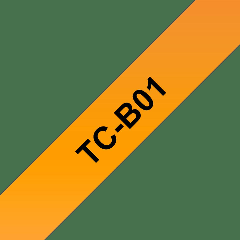 Genuine Brother TC-B01 Fluorescent Labelling Tape Cassette – Black on Orange, 12mm wide