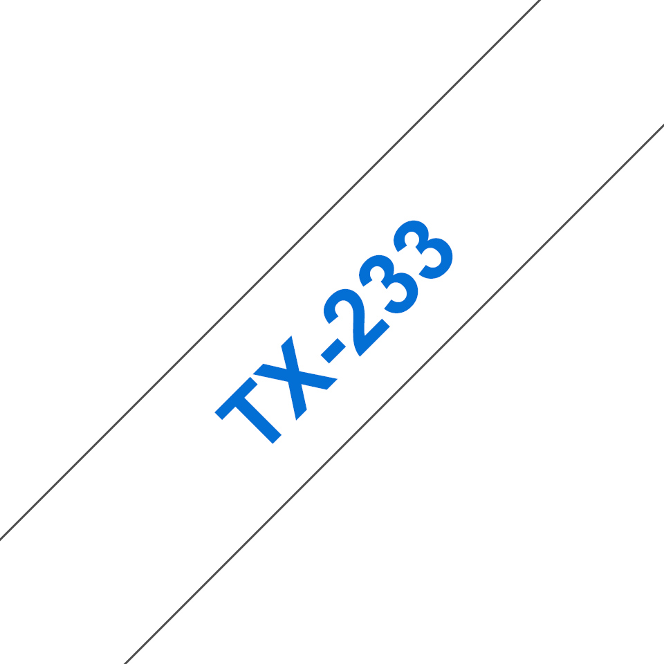Genuine Brother TX-233 Labelling Tape Cassette – Blue on White, 12mm wide