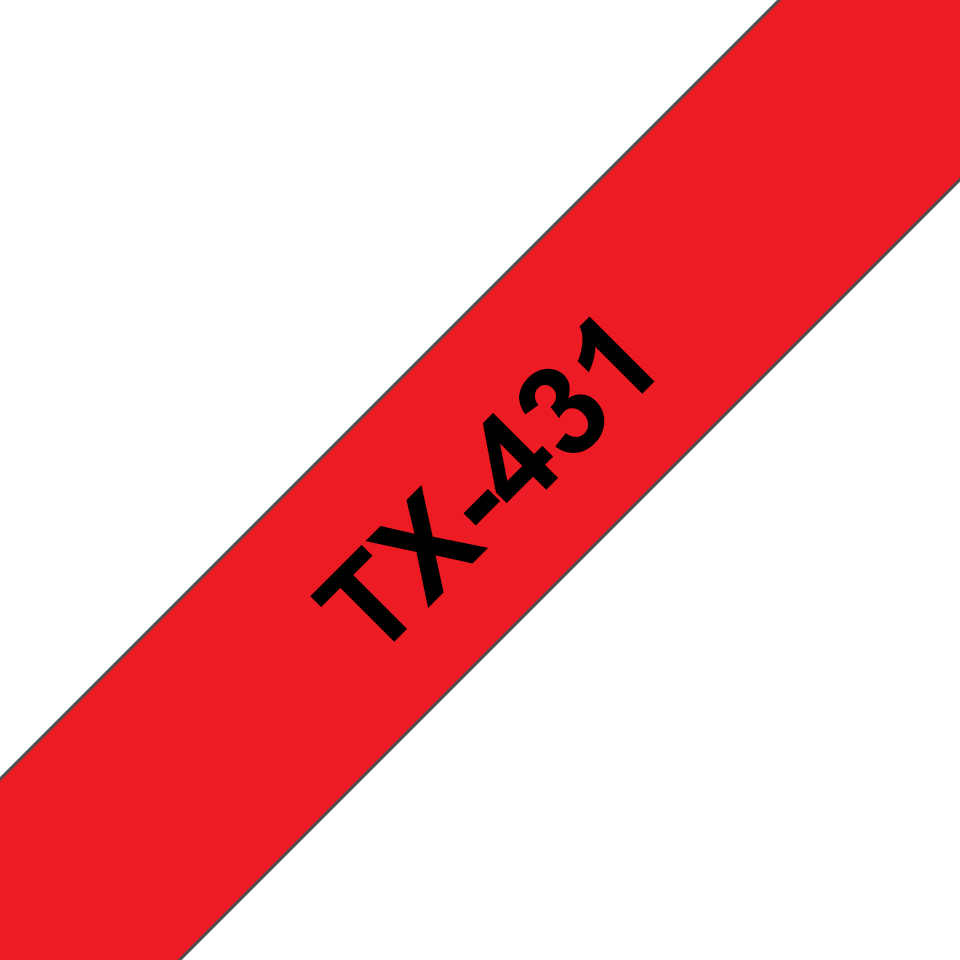 Genuine Brother TX-431 Labelling Tape Cassette – Black on Red, 12mm wide