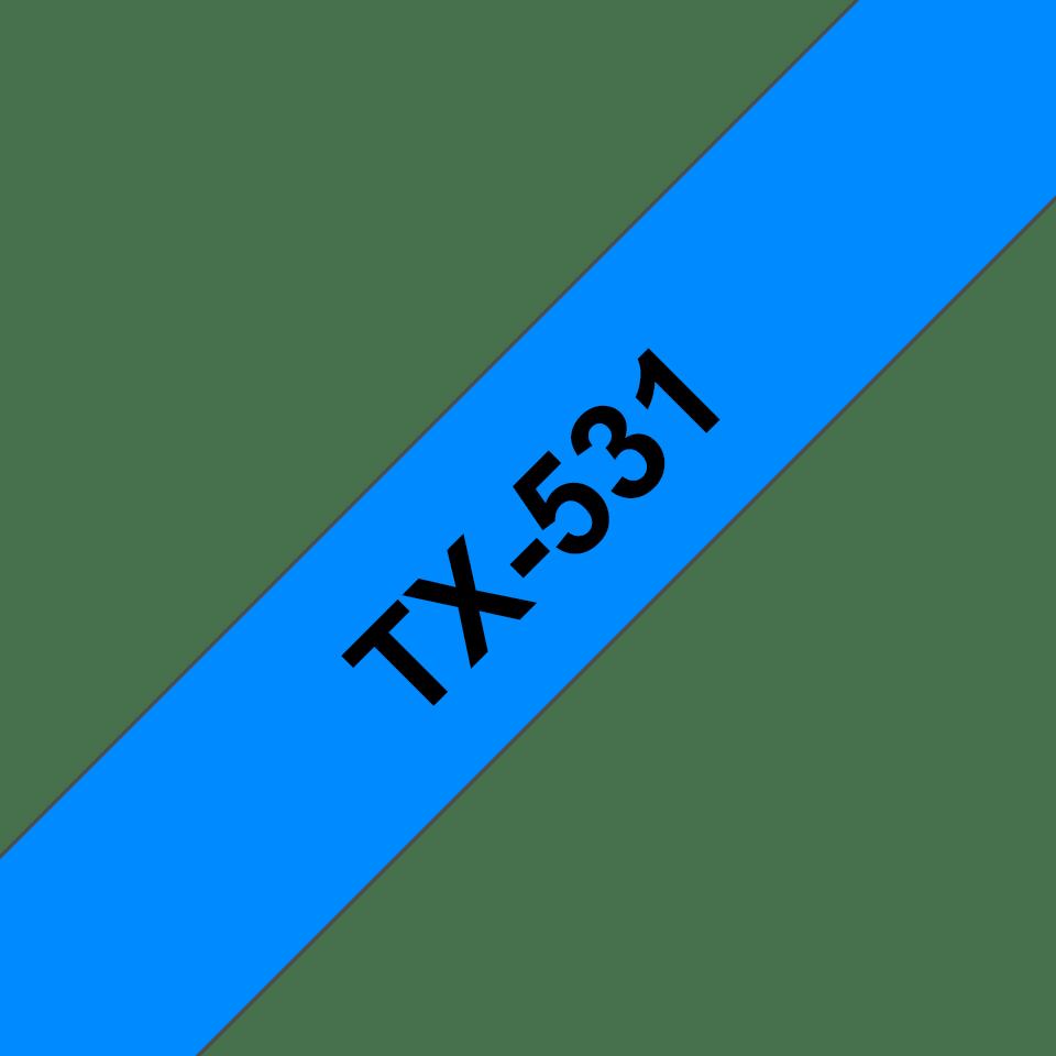 Alkuperäinen Brother TX-531-tarranauha, musta teksti sinisellä pohjalla.