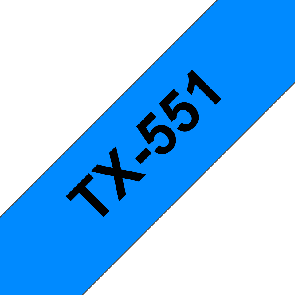 Genuine Brother TX-551 Labelling Tape Cassette – Black on Blue, 24mm wide