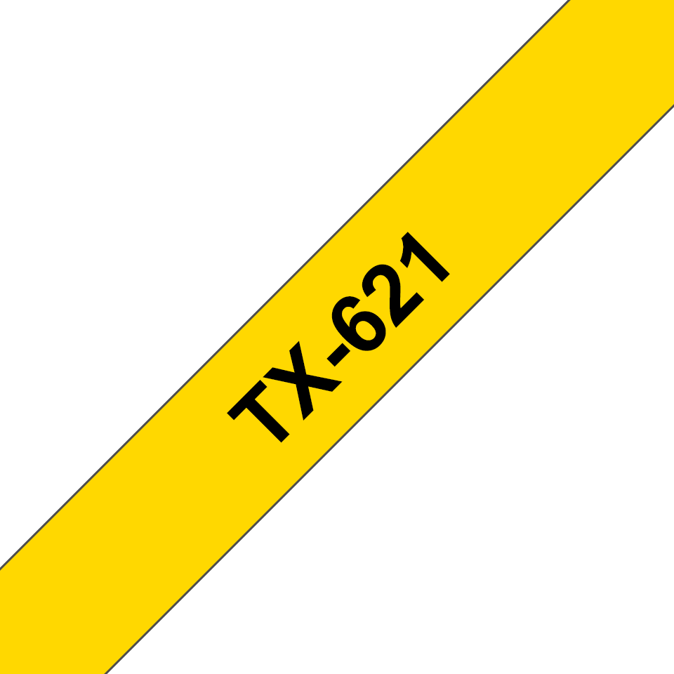 Genuine Brother TX-621 Labelling Tape Cassette – Black on Yellow, 9mm wide