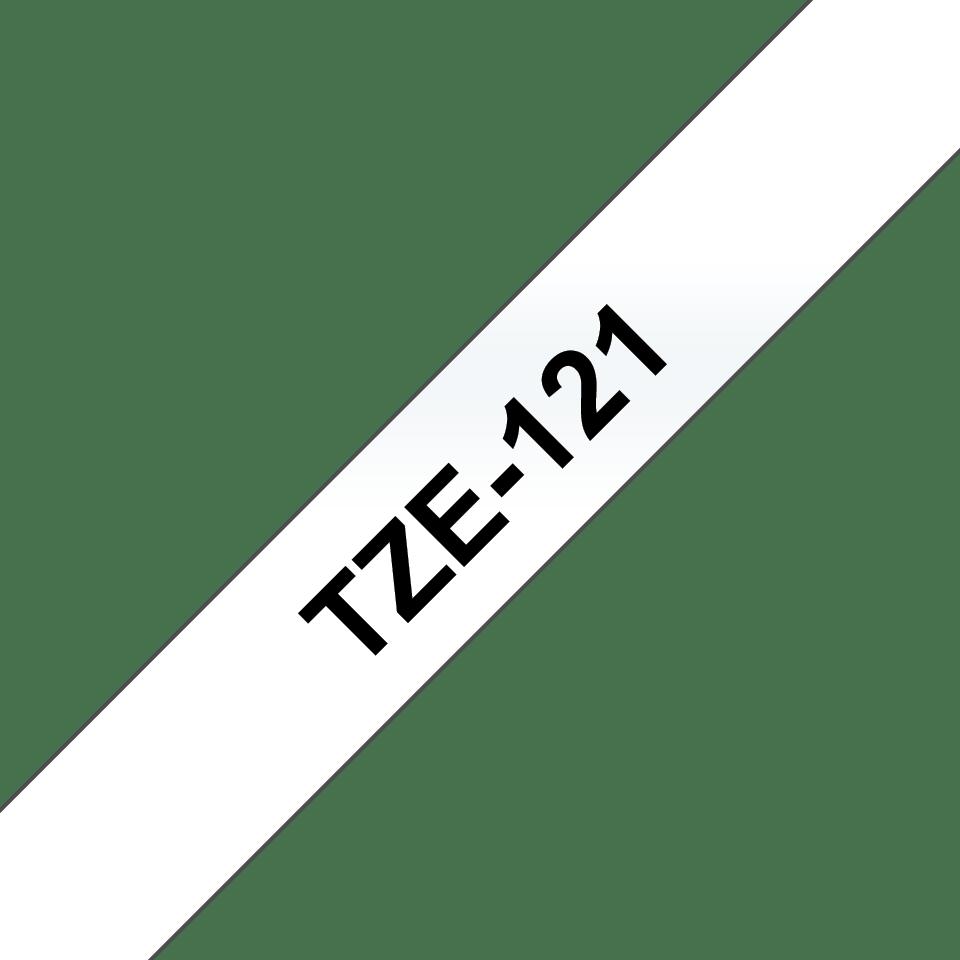 Alkuperäinen Brother TZe121 -tarranauha – musta teksti kirkkaalla pohjalla, 9 mm