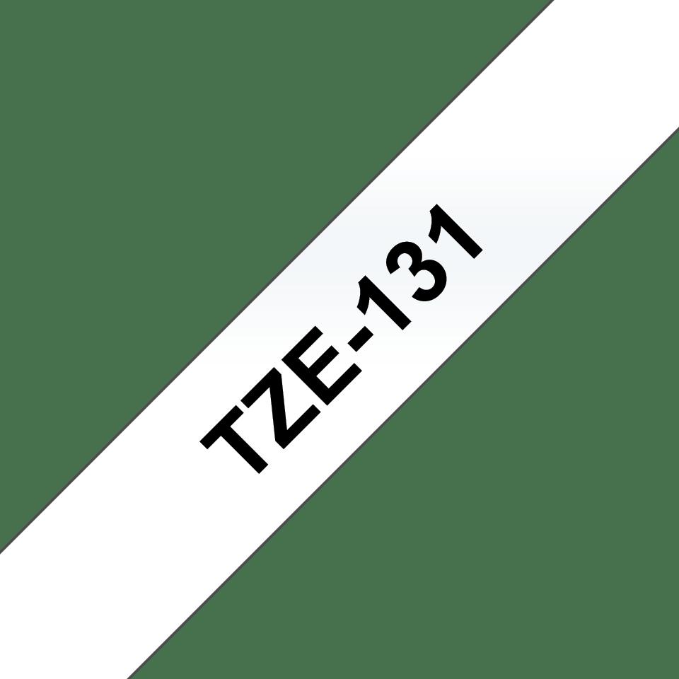 Brother TZe131-tarranauha, musta teksti kirkkaalla pohjalla, leveys 12 mm 3