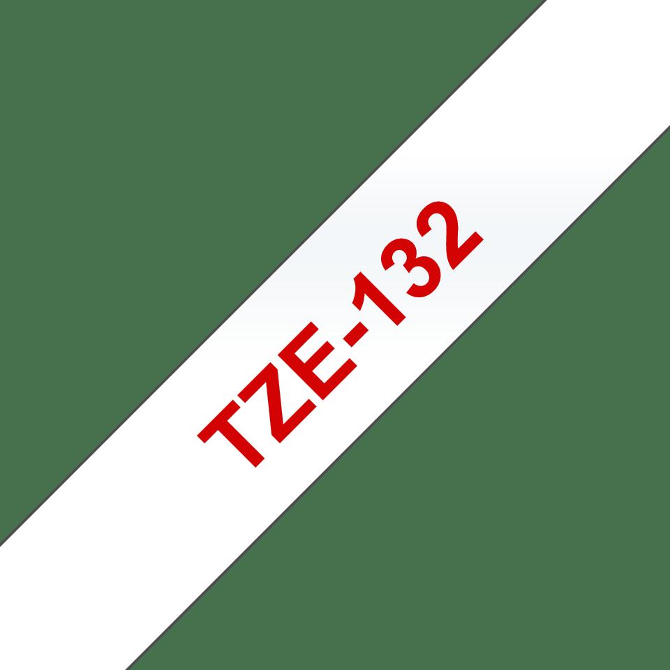 Alkuperäinen Brother TZe132 -tarranauha – punainen teksti kirkkaalla pohjalla, leveys 12 mm 3