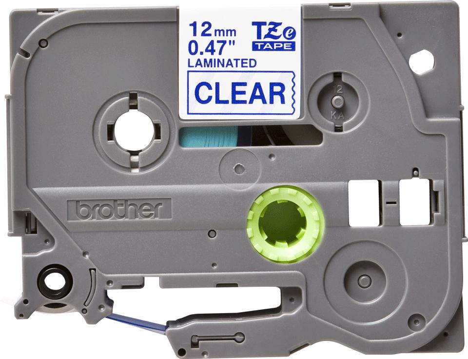 Brother TZe133 -tarranauha – Sininen teksti kirkkaalla pohjalla, leveys 12 mm
