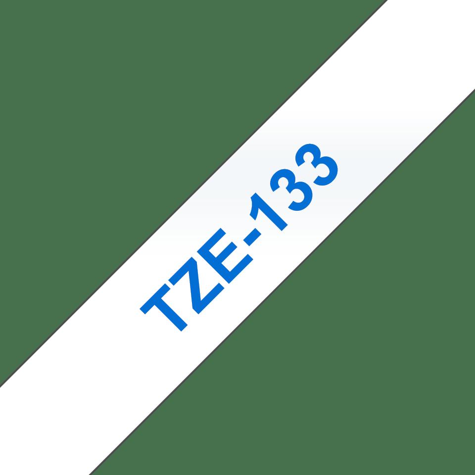 Alkuperäinen Brother TZe133 -tarranauha – sininen teksti kirkkaalla pohjalla, 12 mm