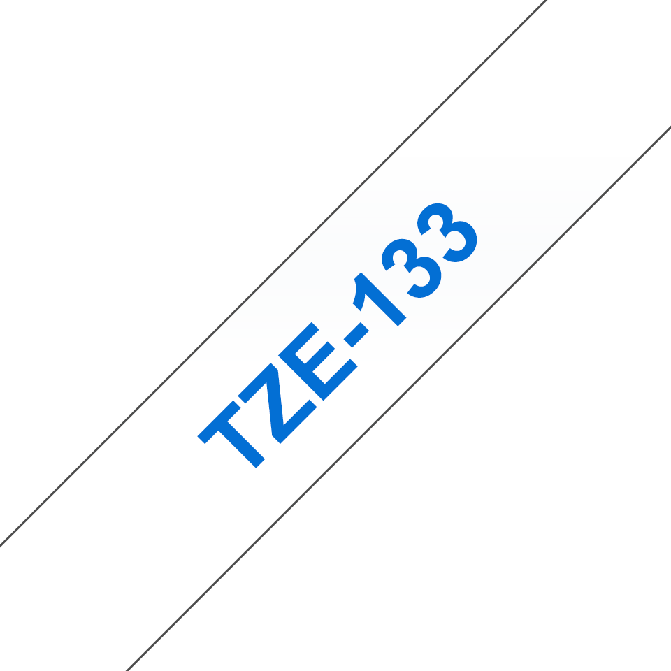 Brother TZe133 -tarranauha – Sininen teksti kirkkaalla pohjalla, leveys 12 mm 3