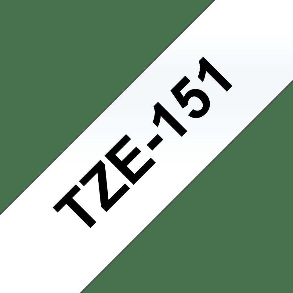 Brother TZe151 -tarranauha – musta teksti kirkkaalla pohjalla, leveys 24 mm 3