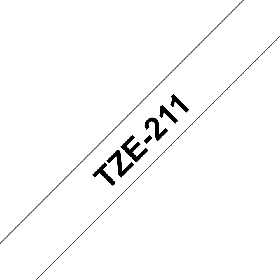 Alkuperäinen Brother TZe211 -tarranauha – musta teksti valkoisella pohjalla, 6 mm