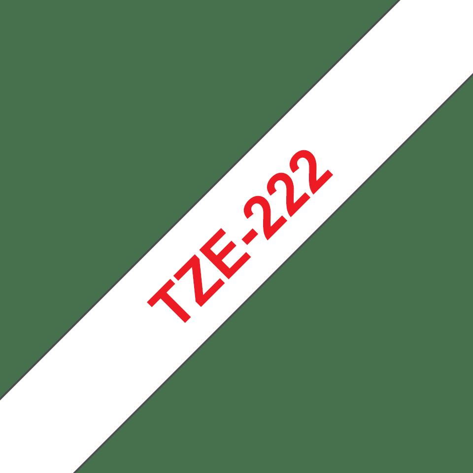 Brother alkuperäinen TZe222 -tarranauha – punainen teksti valkoisella pohjalla, leveys 9 mm 3