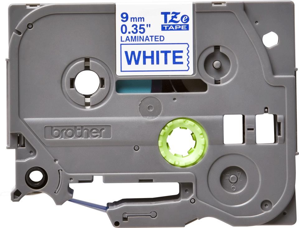 Alkuperäinen Brother TZe223 -tarranauha – sininen teksti valkoisella pohjalla, 9 mm 2