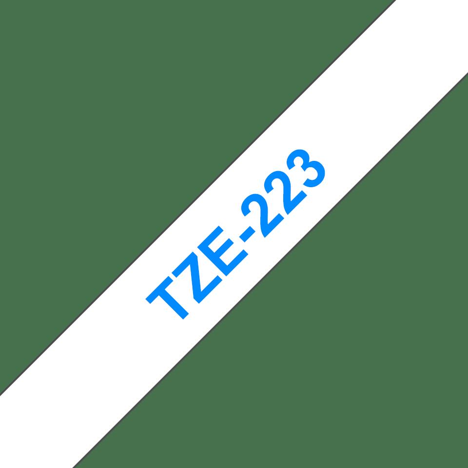 Alkuperäinen Brother TZe223 -tarranauha – sininen teksti valkoisella pohjalla, 9 mm