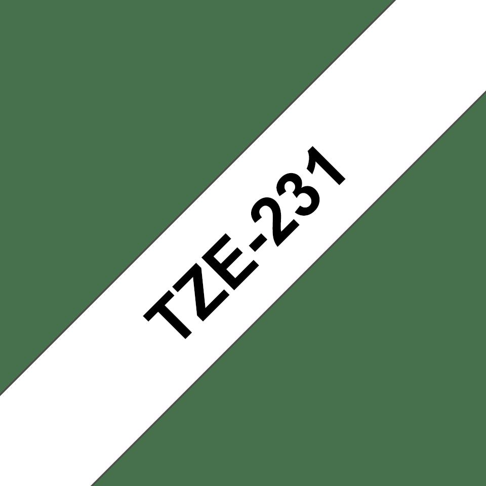Alkuperäinen Brother TZe231 -tarranauha, musta teksti valkoisella pohjalla, leveys 12 mm 3