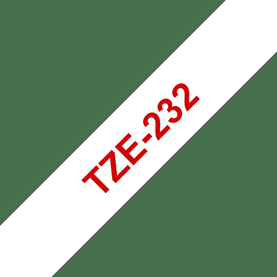 Alkuperäinen Brother TZe232 -tarranauha – punainen teksti valkoisella pohjalla, 12 mm