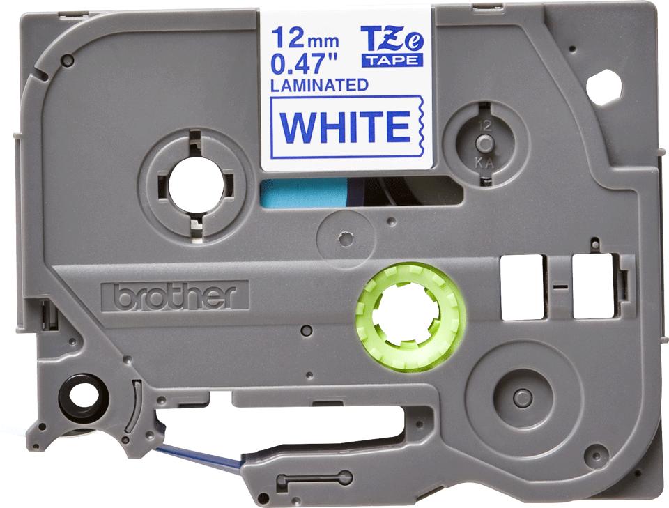 Alkuperäinen Brother TZe-233 tarranauha – sininen teksti valkoisella pohjalla, 12 mm 2
