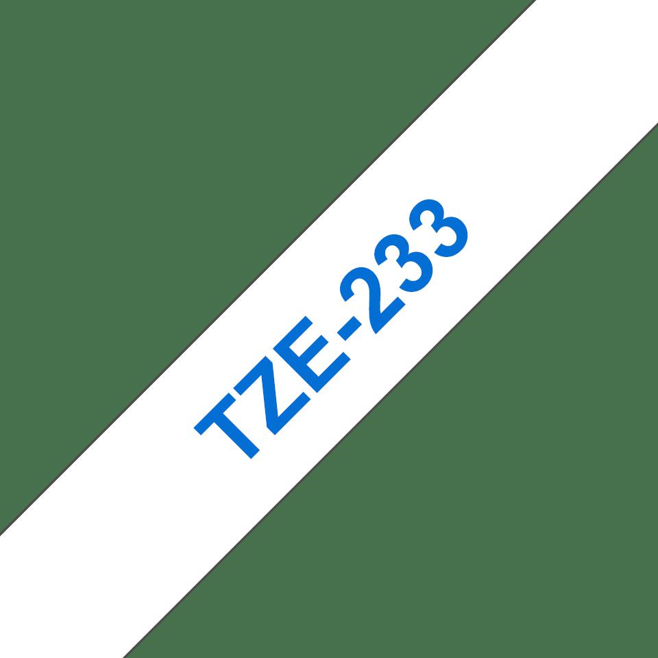 Alkuperäinen Brother TZe-233 tarranauha – sininen teksti valkoisella pohjalla, 12 mm
