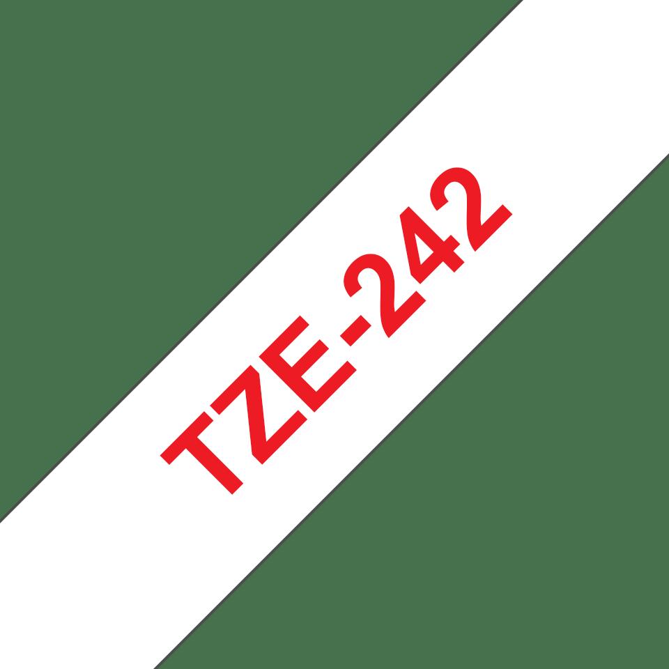 Alkuperäinen Brother TZe242 -tarranauha – punainen teksti valkoisella pohjalla, leveys 18 mm 3