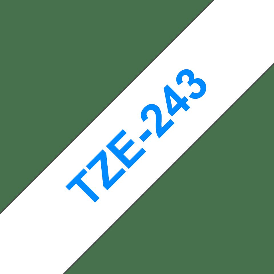 Alkuperäinen Brother TZe243 -tarranauha – sininen teksti valkoisella pohjalla, leveys 18 mm 3