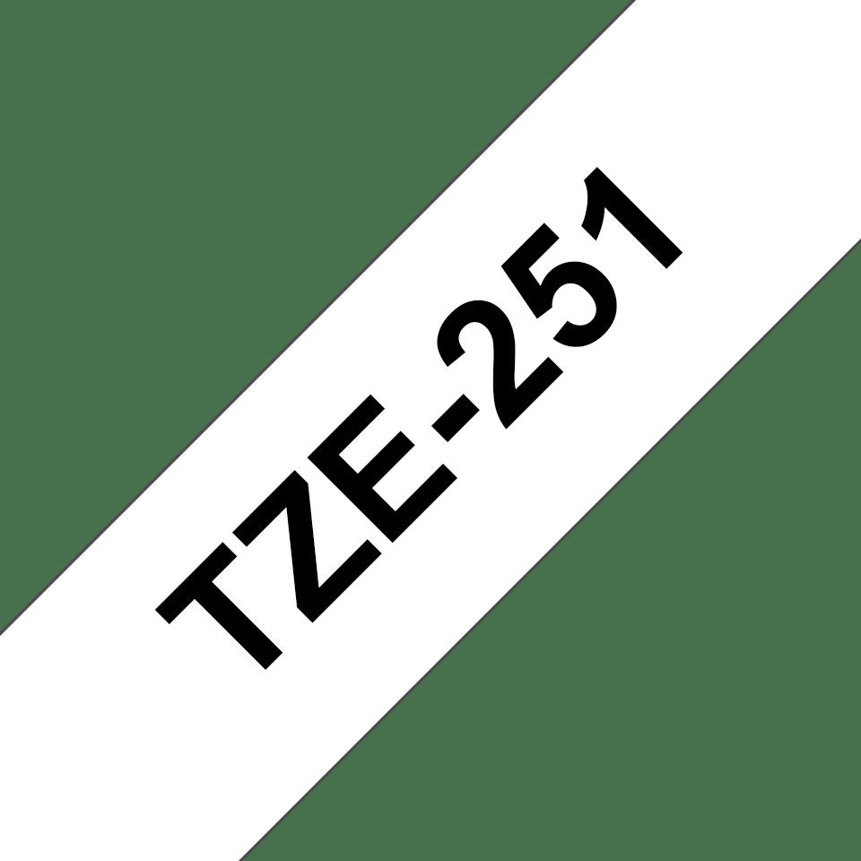 Brother alkuperäinen TZe251 -tarranauha, musta teksti valkoisella pohjalla, leveys 24 mm 3