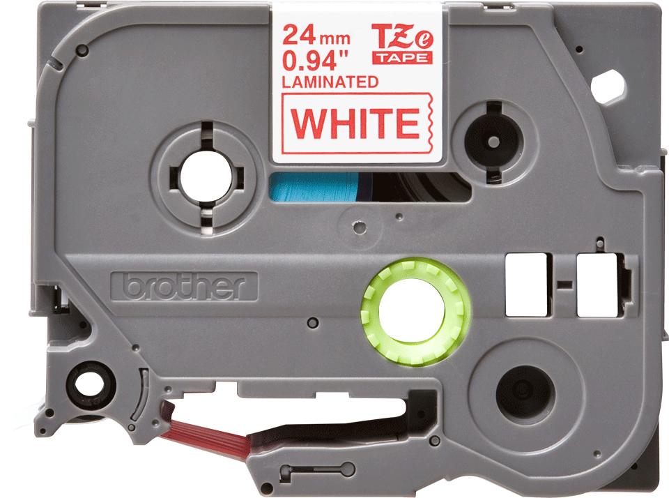 Brotherin alkuperäinen TZe252 -tarranauha – punainen teksti valkoisella pohjalla, leveys 24 mm