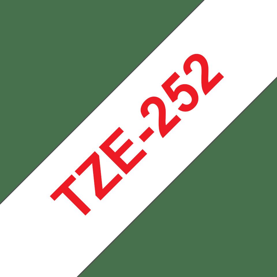 Brotherin alkuperäinen TZe252 -tarranauha – punainen teksti valkoisella pohjalla, leveys 24 mm 3