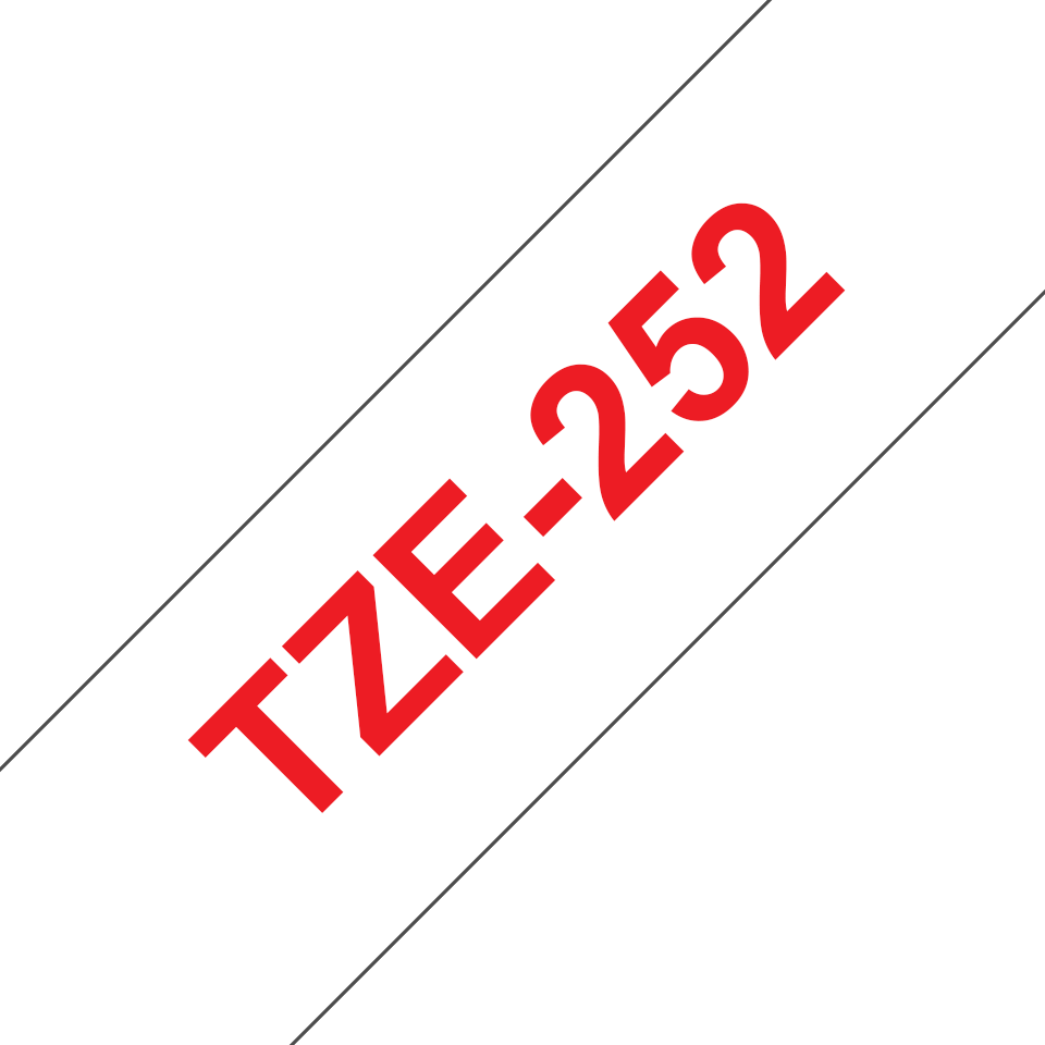Alkuperäinen Brother TZe252 -tarranauha – punainen teksti valkoisella pohjalla, 24 mm
