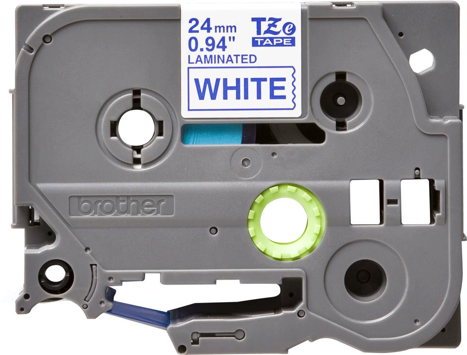 Brother TZe253 -tarranauha – sininen teksti valkoisella pohjalla, leveys 24 mm