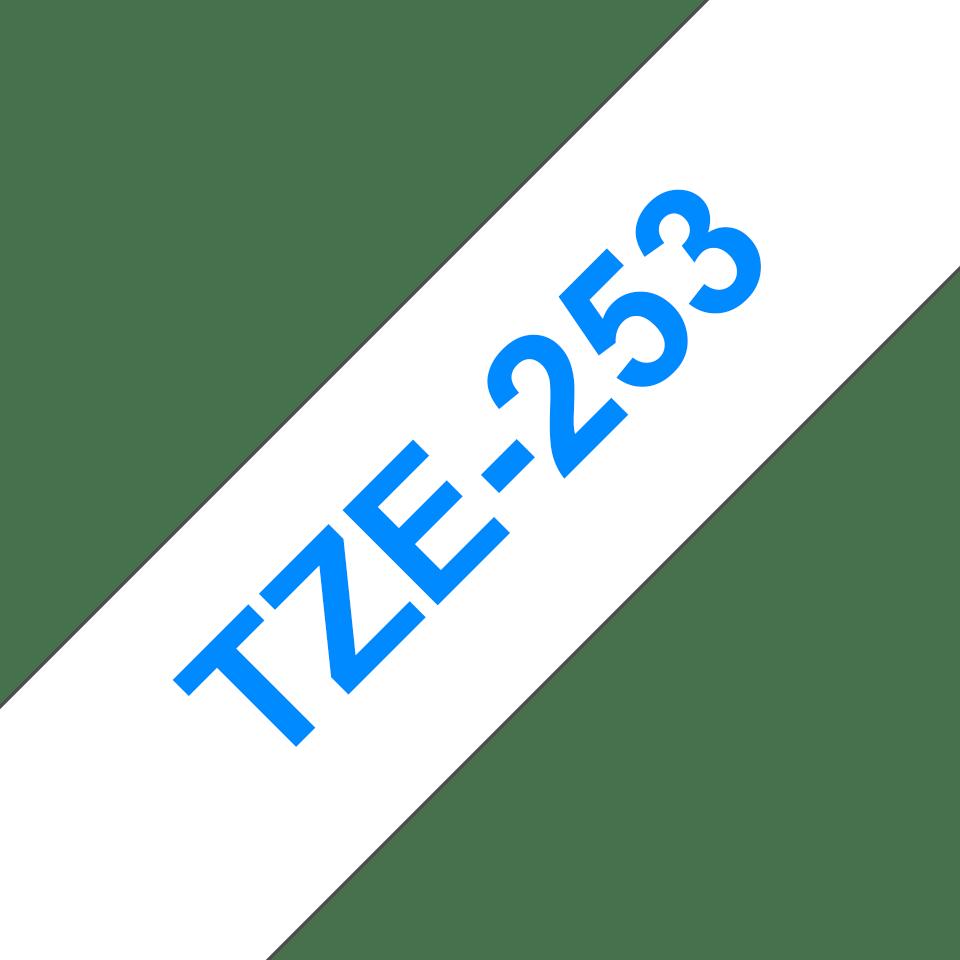 Brother TZe253 -tarranauha – sininen teksti valkoisella pohjalla, leveys 24 mm 3