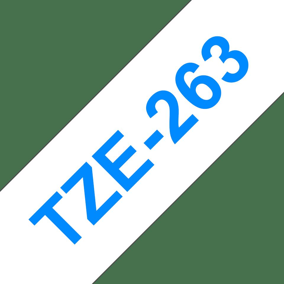 Alkuperäinen Brother TZe263 -tarranauha – musta teksti sinisellä pohjalla, leveys 36 mm 3