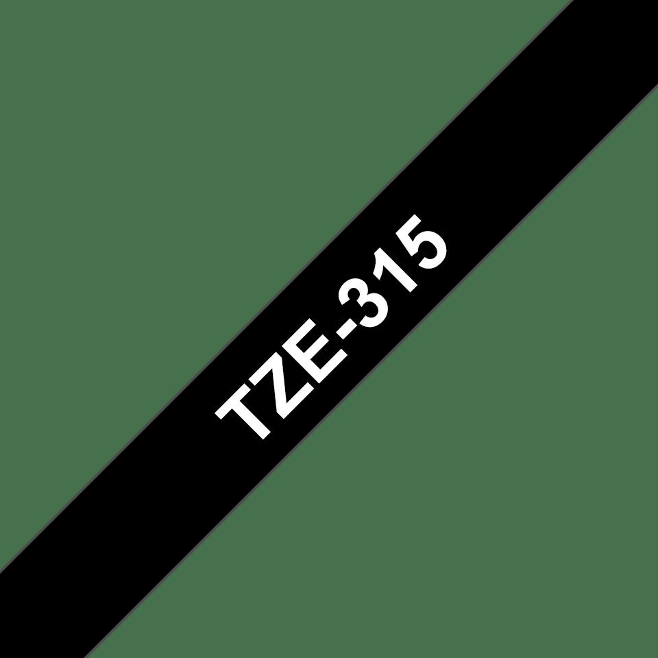 Alkuperäinen Brother TZe315 -tarranauha - valkoinen teksti mustalla pohjalla, 6 mm