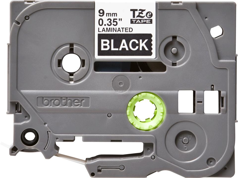 Alkuperäinen Brother TZe325 -tarranauha – valkoinen teksti mustalla pohjalla, 9 mm