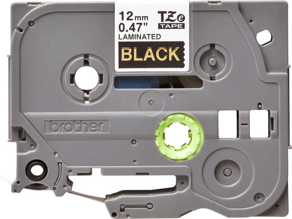 Alkuperäinen Brother TZe334 -tarranauha – kullanvärinen teksti mustalla pohjalla, 12 mm 2