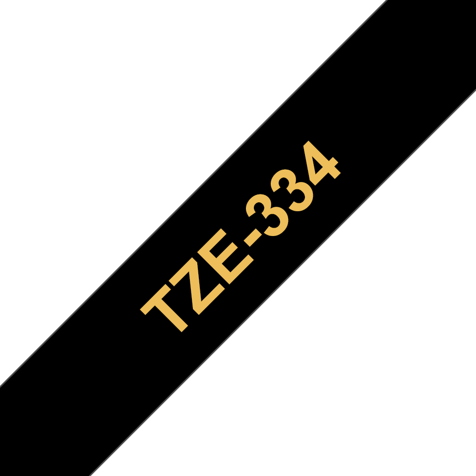 Alkuperäinen Brother TZe334 -tarranauha – kultainen teksti mustalla pohjalla, leveys 12 mm 3