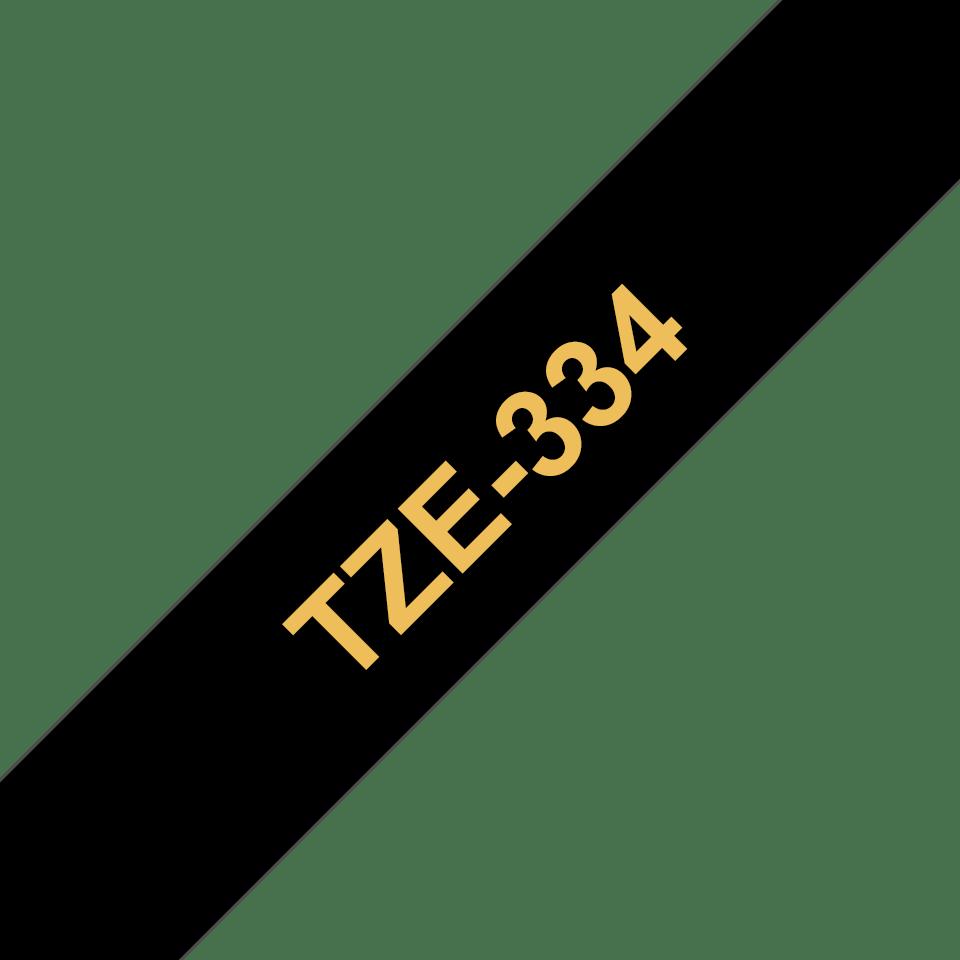 Alkuperäinen Brother TZe334 -tarranauha – kullanvärinen teksti mustalla pohjalla, 12 mm