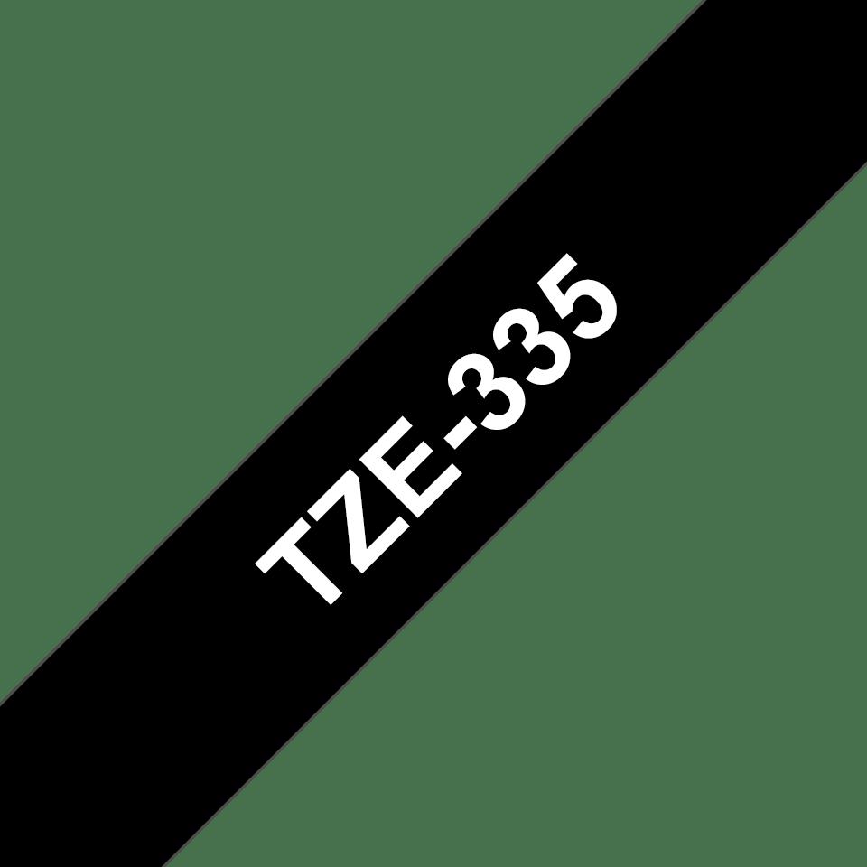Alkuperäinen Brother TZe335 -tarranauha - valkoinen teksti mustalla pohjalla, leveys 12 mm 3